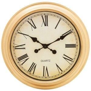 Brookwood Large 16Round Wall Clock Antique Look Face and Brushed Gold