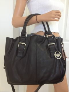 Michael Kors Brookville Large Drawstring Tote Black Leather MK Handbag