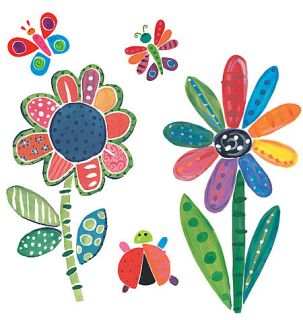 Wallies Jenny Faw Flowers & Bugs Kids Wall Art Mural/FREE SH