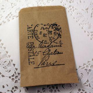 Mini Kraft Brown Favor Treat Paper Bags Paris Postmark