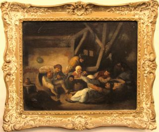 Century Dutch Old Master Peasants Tavern Interior Oil Painting BROUWER