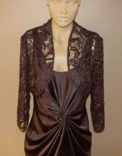 Adrianna Papell Rich Brown Lace Bolero Cocktail Elegant Evening Dress