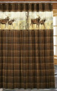 Moose Shower Curtain Brown Plaid Lodge Cabin Rustic NEW in PKG