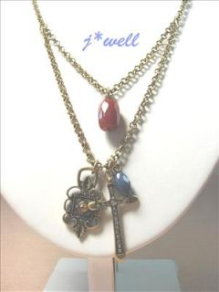 CRYSTAL CROSS & OIL LAMP W/BROWN GEMSTONE 2 CHAIN GOLD TONE NECKLACE