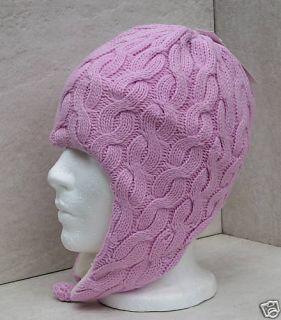 Bula Youth Sharp Pink Cable Ski Snowboard Ear Flap Hat