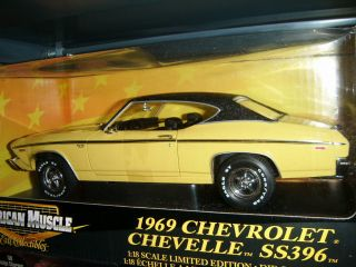 ERTL AMERICAN MUSCLE 1 18 SCALE 1969 CHEVROLET SS396 CHEVELLE YELLOW