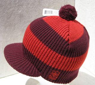 Bula Wine Red Stripe Peak Pom Pom Ski Beanie Hat