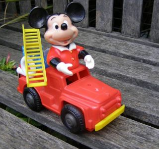 rare vintage mickey mouse fire truck windup japan toy from