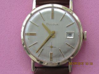 Bulova M9 10K R G P Bezel Mens Wrist Watch