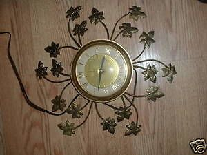 vintage united leaf sunburst style wall clock gold co time