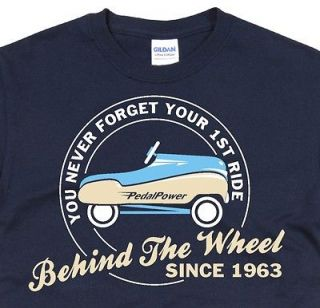 Vintage Toy Car Birthday T Shirt Funny Retro nostalgic Blue Pedal Car