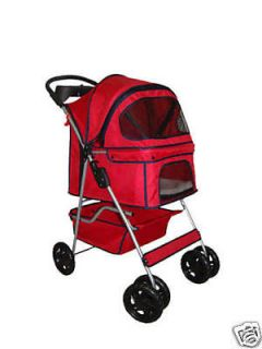 New Classic Fashion BestPet Red 4 Wheels Pet Dog Cat Stroller w