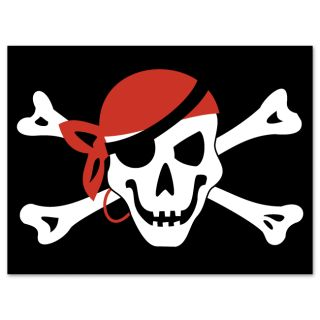 Jolly Roger Pirate Flag Car Bumper Sticker Decal 5 x 4