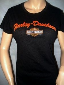 NWT Harley Davidson Black Enbroidered Short Sleeve Shirt Daytona Beach