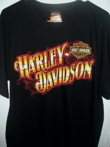 NWT Harley Davidson Black Gold Chrome Flames Bar Shield T Shirt Top