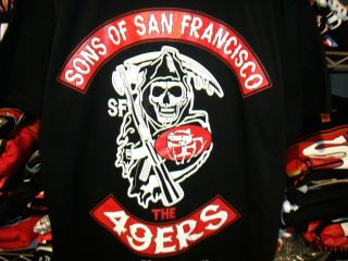 Sons of San Francisco 49ers SF T Shirt Black Skull Reaper Jim Coach