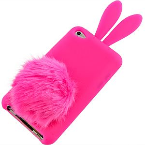 Hot Pink Bunny Cover Case for Apple iPod Touch 4th Gen