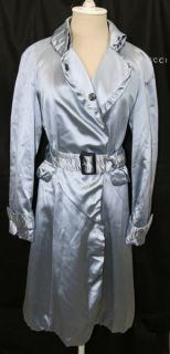 New $3000 Burberry Prorsum Blue Satin Ruffle Collar Belted Trench Coat