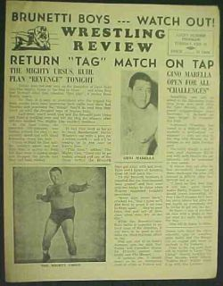 Wrestling Program 1961 Edmonton Mighty Ursus Marella