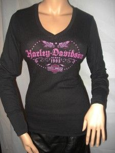 NWT Harley Davidson Black Labeling Lady Wings Long Sleeve Thermal