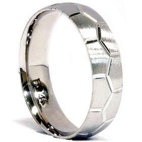 Mens 14k White Gold Brushed Wedding Ring Band Bridal 7 12