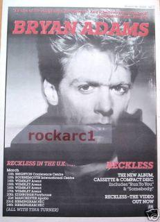 Bryan Adams Reckless Tour 1985 RARE Poster Size Advert