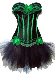 Burlesque Costume Blue Green Purple Red White Strip Corset Black