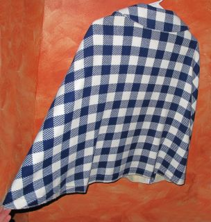 Vtg 60s Bryn Mawr Wool Royal Blue White Check Shawl Poncho Cape Coat