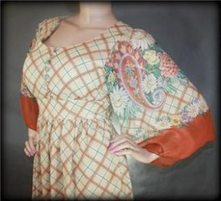 BURNT SiENNA MAXi VtG 70s HiPPiE ETHNiC PEASANT PRAiRiE PARTY DRESS