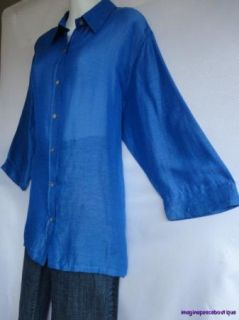 Chicos Cobalt Blue Linen Silk Textured Sheer Blouse 3 4 Sleeve Shirt