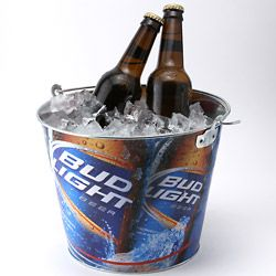 Bud Light Full Color Beer Bucket   Metal Ice Bucket   Homebars or Pub