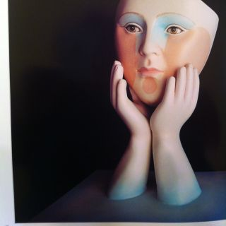 Sergio Bustamante A P Signed Face in Hands Sculpture