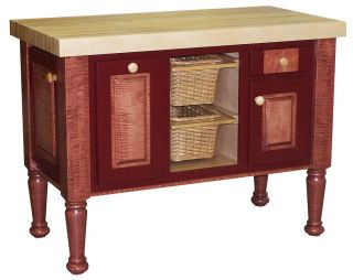 Amish Butcher Block Kitchen Island Solid Wood Red Snack Bar Baking
