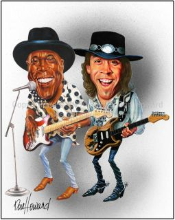 Stevie Ray and Buddy Guy Picture Cartoon Caricature
