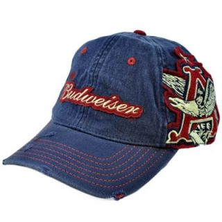 Beer King Bud Anheuser Busch Vintage Style Navy Blue Flex Fit Hat Cap