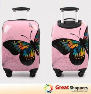 New Fashion Butterfly Pattern Trolley Luggage Travel Hard Case   White
