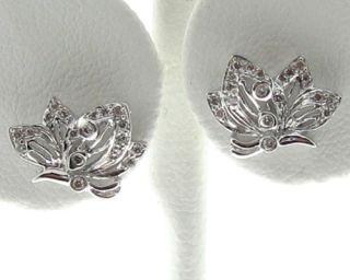 Butterfly Genuine Diamonds Solid 18K White Gold Earrings
