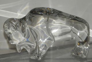 Unusual Large Signed Baccarat French Crystal Buffalo Sculpture