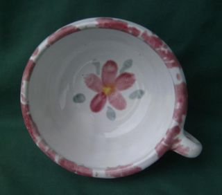 Bybee Pottery Kentucky KY White Pink Flower Handled Cereal Soup Bowl