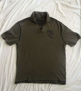 BUFFALO David Bitton XL Olive with Black stitching Polo shirt