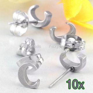 5pair Silvery Cool Stainless Steel Letter C Alphabet Ear Stud Earring
