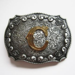 Initial Letter C Cowboy Rodeo Western Metal Belt Buckle