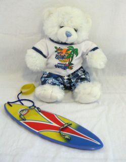 BUILD A BEAR LOT BAB boy SURFER BEAR surf board shorts shirt white