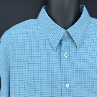 Bugatchi Uomo Blue Checked Striped Long Sleeve Button Front Shirt Mens