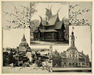 Chicago Worlds Fair Foreign Buildings Sweden ORIGINAL HISTORIC IMAGE