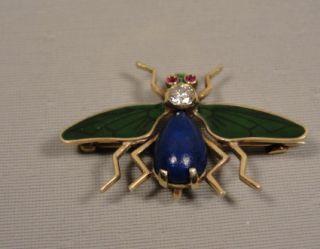 Antique Art Nouveau Enamel Diamond Insect Watch Pin