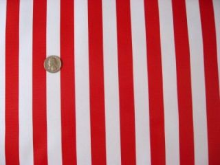 RED + WHITE CABANA CANDY CANE STRIPES RETRO OILCLOTH VINYL SEWING