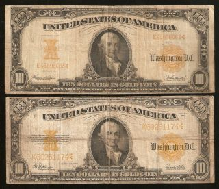 set of 2 1907 1922 $10 Ten Dollar Gold Certificate Currency Notes Rare