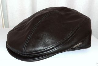 Mens Distressed Genuine Leather Ivy Cap Cabbie Hat Golf
