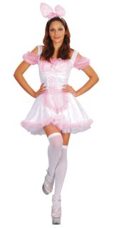 Ladies Playboy Pink Bunny Fancy Dress Costume All Sizes